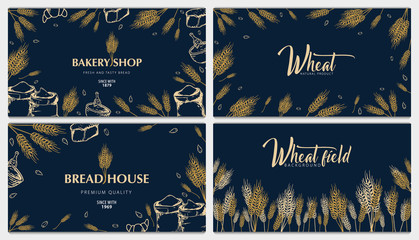 Set of Bakery backgrounds with wheats. Linear graphic. Bread banner collection. Bread house. Vector illustration