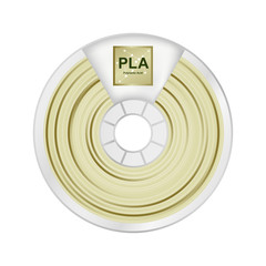 Fototapeta Vector illustration of natural white and yellow pla filament for 3D printing wounded on the spool with a name PLA. Plastic material for a 3D printer. Icon is isolated on a white background. obraz