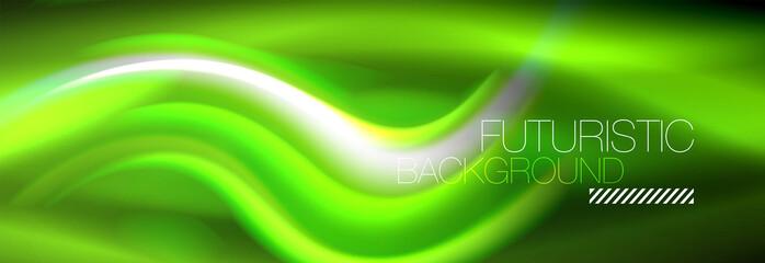 Fluid color neon wave lines background, neon liquid color futuristic paint template