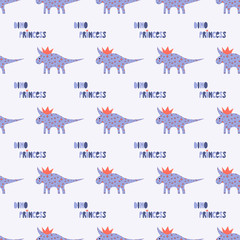 Cute dinosaurs with crowns seamless pattern on the dark background. Vector dino texture for kids. Design for nursery background. Perfect for kids design, fabric, wrapping, wallpaper, textile, apparel