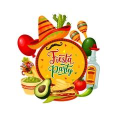 Sombrero, tequila, maracas. Mexican Cinco de Mayo