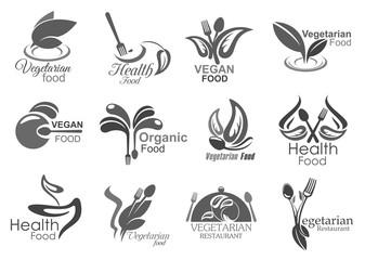 Vegetarian cuisine, vegan healthy food icons