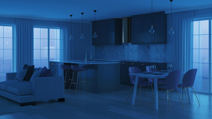 Modern home interior with gray kitchen. Night. Evening lighting. 3D rendering.