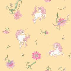 Seamless pattern, background with unicorn