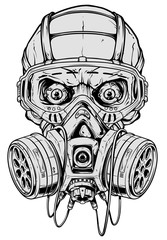 Detailed graphic realistic cool black and white human skull with protective gas mask and crazy eyes. Isolated on white background. Vector icon.