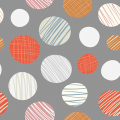 Red, orange, cream hand drawn circles seamless vector pattern on neutral brown background. Stylish contemporary design perfect for stationery, textiles, home decor, giftwrapping, packaging.