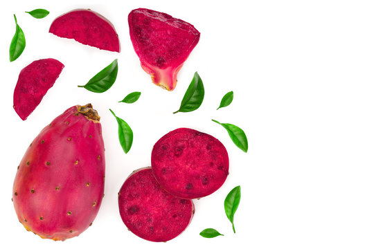 red prickly pear or opuntia isolated on a white background with copy space for your text. Top view. Flat lay