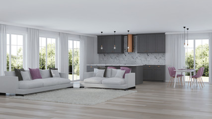 Modern home interior with gray kitchen. 3D rendering.