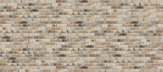 Photo sur Aluminium Brick wall Long wide old dirty red brick wall texture background. Horizontal panoramic view of brick wall.