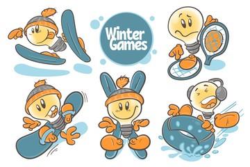 Set character cartoon lightbulb.Winter games. On white background. Vector