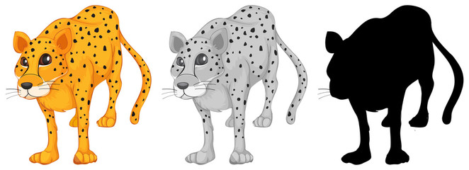 Set of leopard character