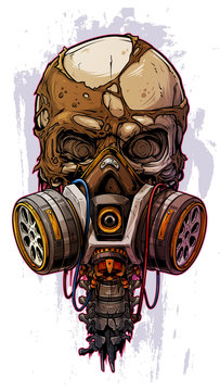 Detailed graphic cool realistic colorful human skull with protective gas mask and crazy eyes. Isolated on gray grunge background. Vector icon.