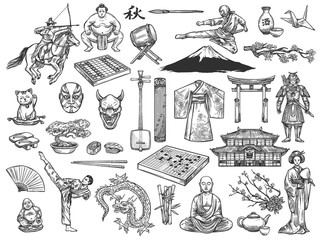 Japan culture symbols, history tradition sketch