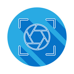 diaphragm icon with long shadow. Signs and symbols can be used for web, logo, mobile app, UI, UX