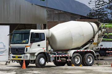 Premixed concrete mixer truck ready for the job.