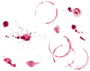 Set of Red Wine Stains and Splatters
