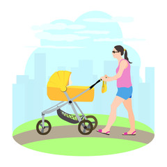 Woman walking with baby carriage on the urban background.