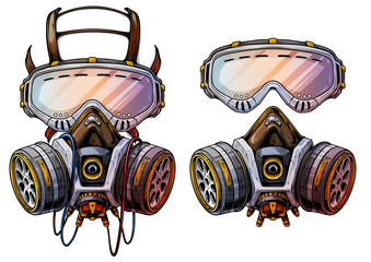 Graphic detailed chemical gas mask respirator with protective glasses and filters. Isolated on white background. Vector icons set.