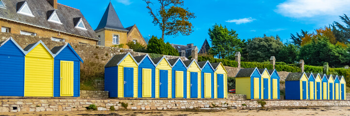 Bathing huts on the beach, Grande Plage, Brittany, Ile-aux-Moines