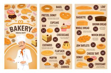 Bakery shop cakes, patisserie pastry desserts menu