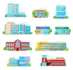 Commercial and municipal city buildings icons