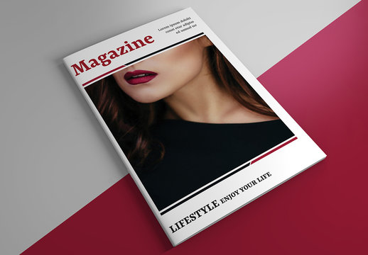 Magazine or Brochure Layout with Red Accents
