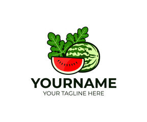 Fruits and berries, watermelon and a slice or piece of watermelon with leaves, logo design. Organic food, vegetarian, healthy eat, agriculture and farming, vector design and illustration