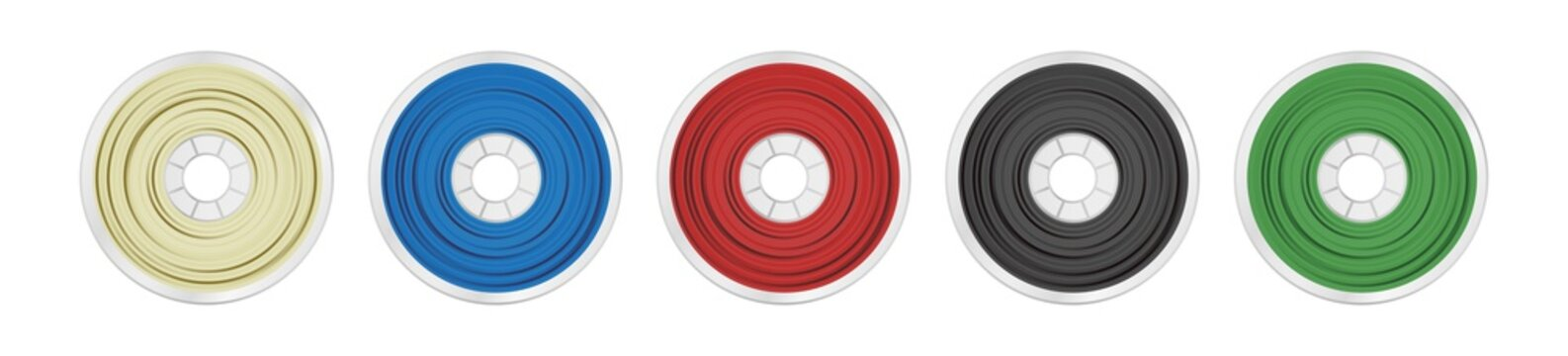 Vector set of five filaments for 3D printing wounded on the spool. Plastic material pla, abs, petg, pc or asa in several color variants – natural white, blue, red, black and green isolated on white.