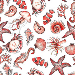 Ocean sea watercolor and graphic handpainted patterns with hand drawn corals and underwater animals. Black and white doodle monochrome natural elements, living coral elements