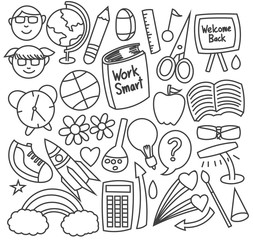 Set of back to school doodles