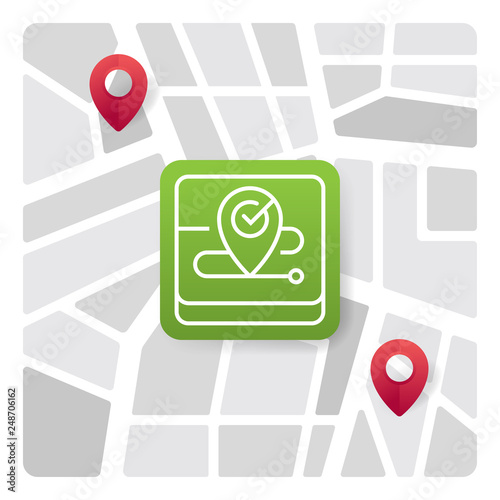 Logo icon of place pin pointer with background of city map