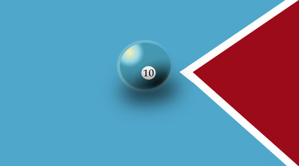 Snooker ball or Billiards ball drawn on made on a bluish colored background.