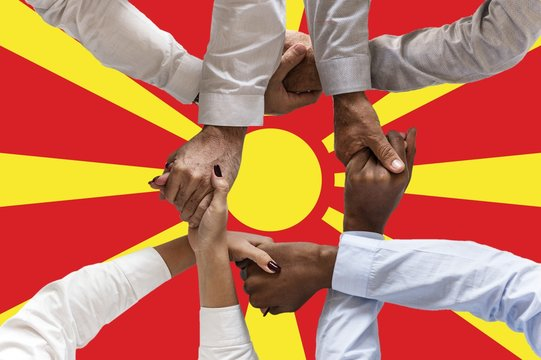 Macedonia flag, intergration of a multicultural group of young people