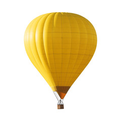 Poster de jardin Montgolfière / Dirigeable Bright yellow hot air balloon on white background