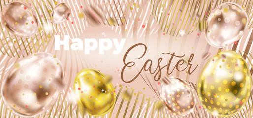 Happy Easter banner in vintage pink color