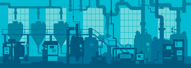 Industrial zone. Factory manufacturing industrial line plant scene interior background