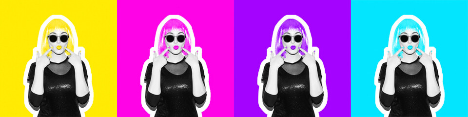 Crazy beautiful rock style Girl in acid colorful wig show with manikur fingers on her lips in sunglasses. Dangerous rocky party woman having fun. Flash magazine collage style on color background.