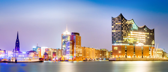 Elbphilharmonie and Hamburg harbor at night