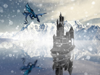 fantastic plot, the dragon flies to the old royal castle in the north on a frozen lake in winter, against the backdrop of harsh mountains in the snow