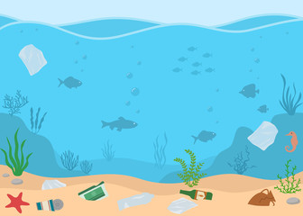 Ocean pollution, plastic bottles and trash  in water. Ecology problems concept. Panoramic seascape. Flat style, vector illustration.