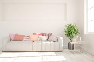 White stylish minimalist room in hight resolution with sofa. Scandinavian interior design. 3D illustration