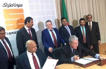 Sonatrach's CEO Abdelmoumen Ould Kaddour attends a signing deal with Larsen and Toubro (L&T) in Algiers