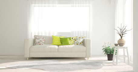 White stylish minimalist room in hight resolution with sofa. Scandinavian interior design. 3D illustration