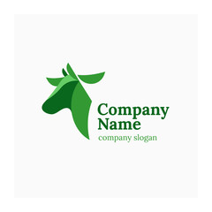 Polygonal logo cow. Agricultural animals symbol. Logo for farm products. Green logotype for cattle company. Green vector illustration of polygonal cow