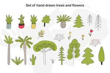 Set of hand drawn cartoon trees, cacti and plants. Vector floral illustration