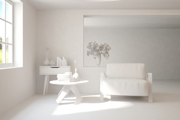 Stylish minimalist room in hight resolution with armchair in white color. Scandinavian interior design. 3D illustration