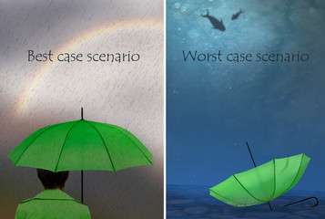 Best and worst case scenarios. Woman with umbrella,. Business, life concept.