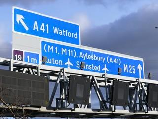 M25 Motorway signs, near Junction 19 in Hertfordshire, UK
