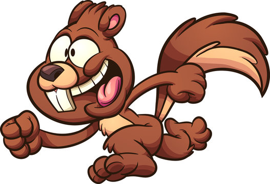 Cartoon happy running squirrel clip art. Illustration with simple gradients. All in a single layer.