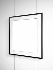 Mock-up, mockup exhibition, art gallery, hall white empty photo frame on a wall